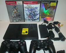 Sony PlayStation 2 PS2 Slim Black Console 3 Game Bundle Kingdom Hearts Lot