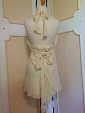 BCBG MAX AZRIA 100% SILK CREPE HALTER TIE BACK TOP BLOUSE-LARGE~NEW W/O TAGS~WOW