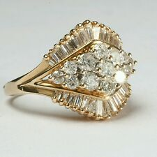 Estate Vintage 14k Yellow Gold Diamond Cluster Ring with 2CT Diamonds