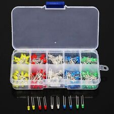 200pcs 3mm LED Light Assorted Kit Red Green Blue Yellow White DIY Diode Lamp Set