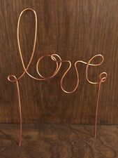 LOVE Rustic Wedding Copper Gold Wire Cake Topper Decoration