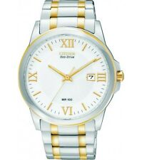 Citizen Eco Drive BM7264-51A Mens Two Tone Stainless Steel White Dial Date Watch