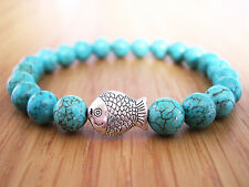 Handcrafted Semi Precious Stone Bracelet w/ Turquoise Beads & Silver Fish Charm