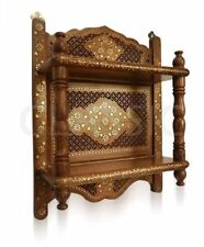 "Wooden Wall Bracket ✿ Sheesham Wood Double Shelf 21x17x6""✿ Mandir Temple Shelves"