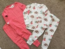 NEW Mini Boden Girl Cozy Twin Pack Pink Mouse Dots Long Johns Pajamas Set 2