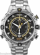 TIMEX MEN'S  IQ QUARTZ TIDE, TEMP AND COMPASS STAINLESS  WATCH, T2N738 NEW.