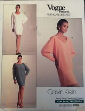 Vogue Sewing Pattern 2055 Vtg Calvin Klein Dress P S M 6 14 Loose Fit Pullover