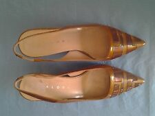 Taupe Rosa Paloma Pearl Patent Leather Slingback Pump Size 7.5M