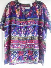 PLUS SIZE BRIGHT COLOURFUL RAYON TOP BY LAURA KATHERINE: SIZE 22W