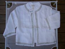 CHICO'S NEW W/T $129 METALLIC TRIMMED 100% WHITE LINEN JACKET SIZE 2 (12-14,M)