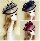 Large Sinamay Fascinator Headband Wedding Race Cocktail Church Derby Feather Hat