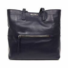 MIU MIU  LEATHER TOTE  RR1934 BLACK VITELLO LEATHER  BAG BY PRADA