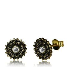 BRASS EAR STUDS EARRINGS FLOWER AFGHAN TRIBAL BRASS POST 10MM DESIGN YOGA