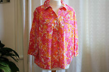 Croft & Barrow - Pink /Orange Bright / Fresh Floral Top - Large Size - Used