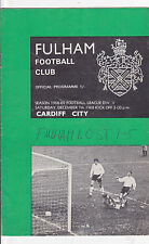 FULHAM V  CARDIFF CITY  2ND DIVISION  7/12/68