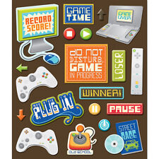 K&COMPANY STICKER MEDLEY VIDEO GAMES PLAYING DIMENSIONAL 3D SCRAPBOOK STICKERS