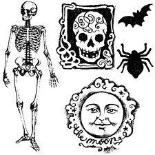 Stamperia Halloween clear STAMP Teschio Scheletro MOON Cardmaking JOURNAL