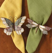 Butterfly & Dragonfly Napkin Rings Set ~ Set/2