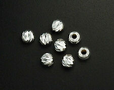 925 Sterling Silver 20 Diamond Cut Spacer Beads  4mm