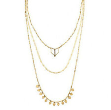 N092 Terra Layering Necklace SD 3 In 1 Delicate Geometric Designs Vintage Gold