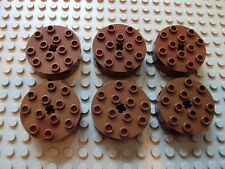 Lego Technic/Mindstoms NXT ~ Lot Of 6 Brown Round Bricks 4x4 w/Axle Hole #xyhfg