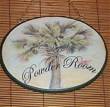 Tropical Palm Tree Wood Powder Room Sign Gold Chain
