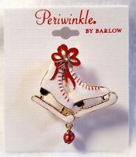 """Periwinkle by Barlow Pin Brooch Ice Skates Winter Christmas White Gold Tone 2"""""""