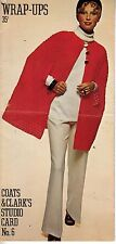 VINTAGE WRAP UPS COATS & CLARKS STUDIO CARD #6 KNIT AND CROCHET PATTERN BOOK