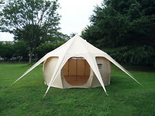 Durable Beige Pumpkin Tent Canvas 4m Bell Tent Family Camping Tent for Outdoor