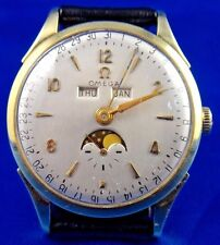 1947 Omega Triple Date Cosmic Moonphase Mechanical Mens Watch Cal 381 Ref 2606-6