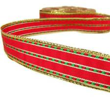 """2 Yds Christmas Red Green Gold Woven Stitch Ribbon 7/8""""W"""