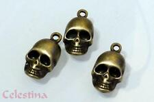 10 bronze antique charmes Crâne Halloween Gothique Perles Pirate Squelette LF NF 18mm