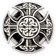 Gothic Punk Celtic Shield Cross Round Knots Mens Vintage Belt Buckle
