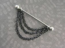 "Black Chains Industrial Barbell 14g 1-1/2"" 38mm (1.5"") Cartilage Earring NEW"