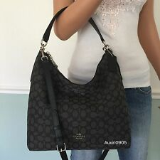 NEW! COACH Black Grey Signature Hobo Tote Shoulder Crossbody Bag Purse