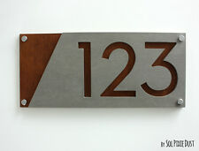 Modern House Numbers, Concrete & Marine Plywood - Sign Plaque - Home Address