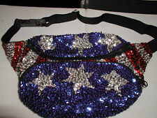 GLITTERING USA FLAG SEQUIN FANNYPACK PURSE MEMORIAL LABOR DAY 4TH JULY PARADE