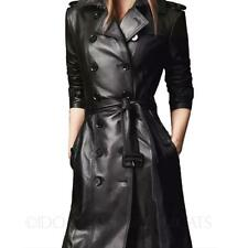 LADIES TRENCH COAT WINTER MAC FAUX LEATHER WOMENS LONG BELTED JACKET SIZE XS-XXL