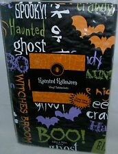 "Halloween  Vinyl Tablecloth  52"" x 70"" Oblong  Halloween Sayings Seats 4-6"