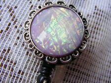 Purple Moonstone Iridescent Opal ID Badge Name Tag Key Card Holder Reel Lanyard