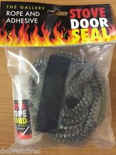 8MM X2.5 M PD BLACK STOVE DOOR GLASS SEAL ROPE KIT c/w50ml GLUE FIRE WOODBURNER