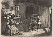 1870 IRELAND WOMAN MAKING NETS IN THE CLADDAGH GALWAY