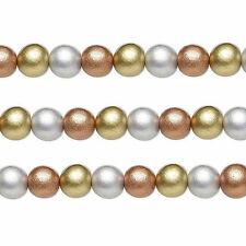 Wood Round Beads Gold Silver Copper 8mm 16 Inch Strand
