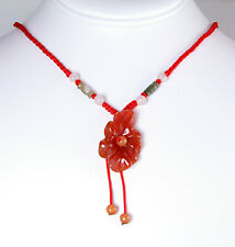 NEW HAND CARVED NATURAL CARNELIAN FLOWER PENDANT NECKLACE WITH SILK CORD ON SALE