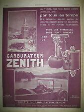 PUBLICITE DE PRESSE ZENITH CARBURATEUR AUTO SATISFACTION FRENCH AD 1925
