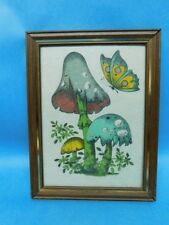 "Hand Colored Mushroom Butterfly Picture Print 5"" x 7"""