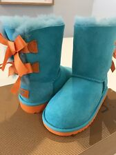 NEW UGG T BAILEY BOW AQUA BLUE BOOTS US 10 UK 9 EU 27 JP 17.0 Toddler SHOES KIDS