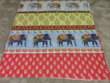 Indian Elephant Elephants red gold duck egg blue remnant fabric piece 125x110cm
