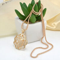 Women Hot Gold Hollow Rose Flower Crystal Rhinestone Pendant Long Chain Necklace