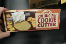 2-in-1 Rolling Pin Cookie Cutter Plastic Cutters Retro Vintage 12 Shapes + Box!